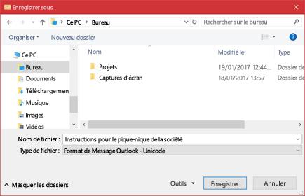Vous pouvez enregistrer un message électronique existant sous la forme d'un fichier.
