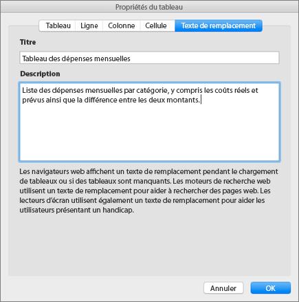 Capture d'écran de l'onglet Texte de remplacement de la boîte de dialogue Propriétés du tableau décrivant le tableau sélectionné