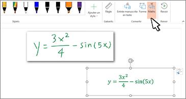 Équation manuscrite et même équation convertie en texte mis en forme et en chiffres