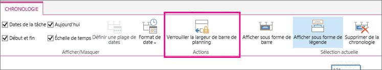 Option tâche chronologie verrouiller largeur sous l'onglet barre de planning