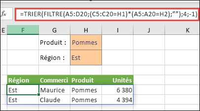 Vous pouvez utiliser la fonction FILTRE avec la fonction TRIER pour renvoyer toutes les valeurs dans la plage du tableau (A5:D20) qui correspondent au produit «Pommes» ET à la région Est, puis trier les unités dans l'ordre décroissant.