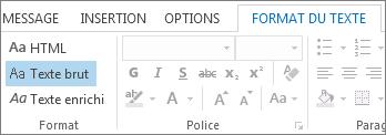 Options de format de message sous l'onglet Format du texte