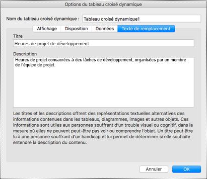 Boîte de dialogue Texte de remplacement pour un tableau croisé dynamique Excel.