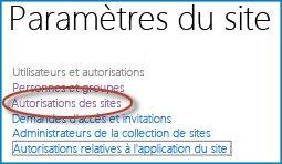 Capture d'écran d'un ensemble d'options dans la page Paramètres du site qui affiche le lien Personnes et groupes