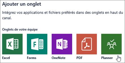 Capture d'écran de la boîte de dialogue Ajouter un onglet dans Microsoft Teams