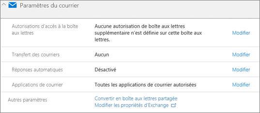Capture d'écran: Convertir des boîtes aux lettres utilisateur boîte aux lettres partagée