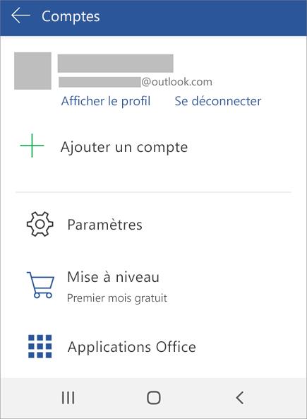 Présente l'option Se déconnecter d'Office sur un appareil Android