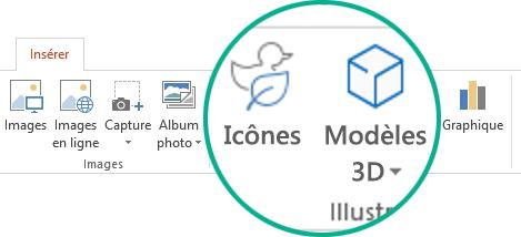 Boutons pour les icônes et les modèles 3D sous l'onglet Insertion du ruban de barre d'outils dans Office365