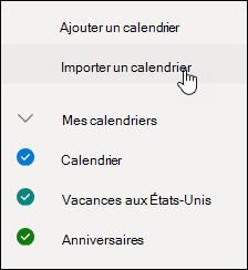 Capture d'écran du bouton découvrir les calendriers