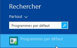 Capture d'écran des programmes par défaut