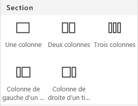 Capture d'écran du menu Disposition de la section dans SharePoint.