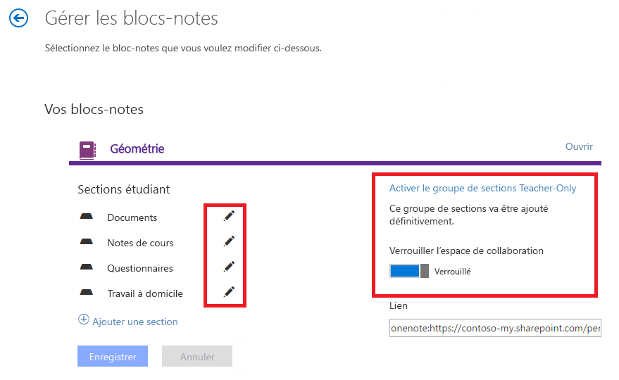 Options de gestion des blocs-notes