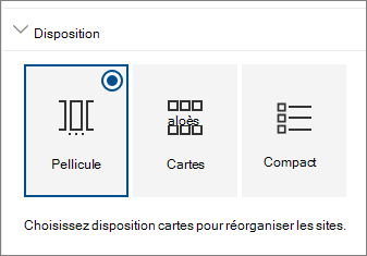 Paramètres de disposition des composants WebPart sites