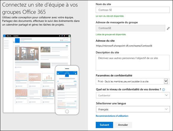 Créer un site d'équipe SharePoint