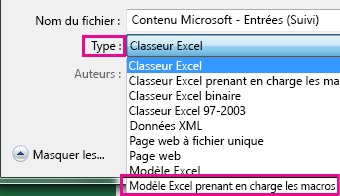 Choisissez un modèle Excel prenant en charge.