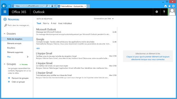 Une fois que vous avez importé du courrier électronique à partir du fichier .pst, il apparaît également dans OWA.