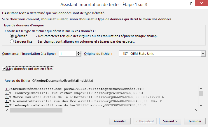 Excel - Obtenir des données externes à partir de texte, Assistant Importation de texte, étape1 sur 3