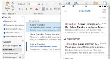 Dossier Brouillons sur un ordinateur de bureau et sur un téléphone