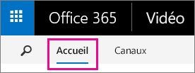 Bouton Accueil dans la barre de navigation supérieure d'Office365 Vidéo