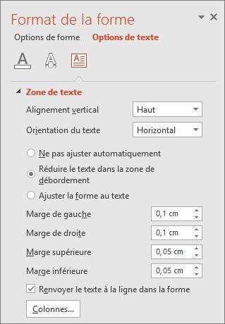 Volet Format de la forme > Options de texte dans PowerPoint
