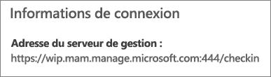 La page Géré par affiche l'URL des informations de connexion incluant les mots mam et wpi.