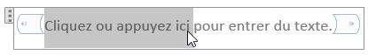 Modification du texte d'espace réservé dans un contrôle de contenu de texte brut