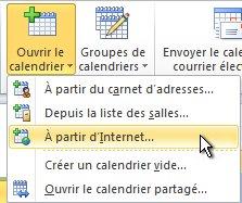 Commande d'ouverture de calendrier à partir d'Internet dans le ruban