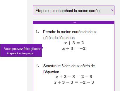 Solution les étapes dans le volet Office mathématiques