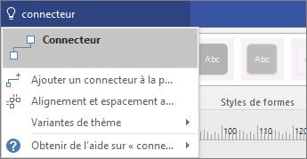 Capture d'écran de l'outil Dites-nous ce que vous voulez faire affichant des résultats correspondant à Connexion.