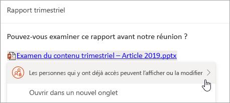 Capture d'écran d'un lien vers un fichier OneDrive