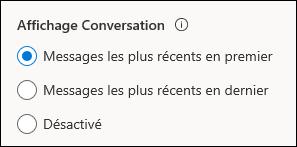 Paramètres du mode conversation
