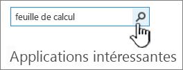 Champ Rechercher une application dans lequel est entré le mot Feuille de calcul et bouton Rechercher sélectionné
