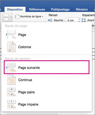 Sous l'onglet Disposition, l'option Page suivante est mise en évidence