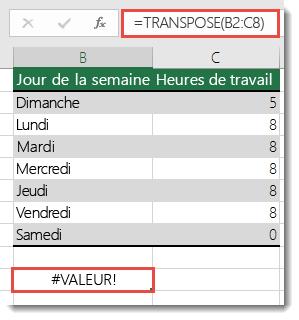 Erreur #VALEUR dans la fonction TRANSPOSE