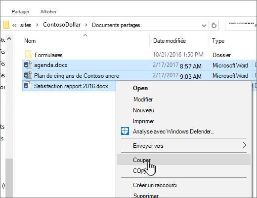 Cliquez avec le bouton droit sur et sélectionnez Couper pour déplacer un fichier