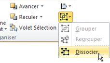 Liste des groupes avec l'option Dissocier sélectionnée