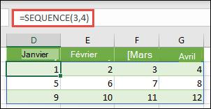Créer une constante de matrice de trois lignes sur 4 colonnes avec = SEQUENCE (3, 4)