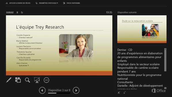 Mode Présentateur dans PowerPoint 2016, avec un cercle autour des commentaires du présentateur