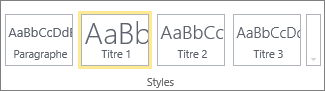 Groupe Styles sur le ruban SharePoint Online avec le style Titre1 sélectionné