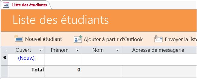 Formulaire Liste d'étudiants dans le modèle de base de données Étudiants Access