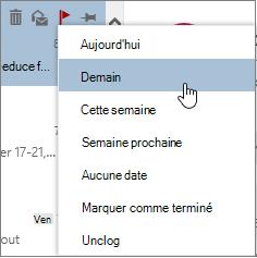 Options de suivi disponibles lorsque vous appliquez un indicateur un message