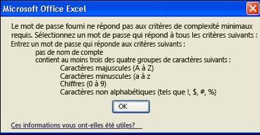 Message d'erreur lorsque trop peu de caractères est utilisé pour le mot de passe