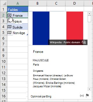 Cellule présentant un enregistrement lié pour la France; icône de clic de curseur; carte affichée