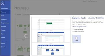Première page de l'Assistant Modèle Diagrammes d'audit