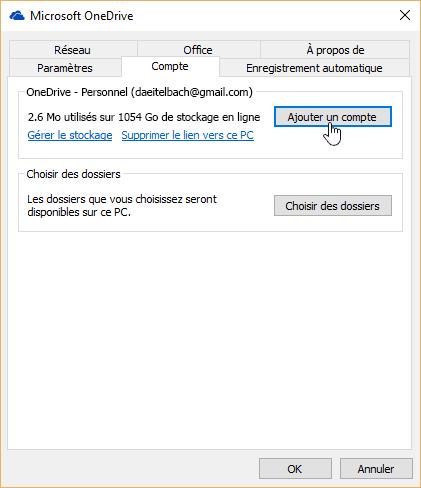 L'onglet compte dans les paramètres OneDrive.