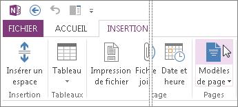 Cliquez sur le bouton Modèles de pages pour afficher des modèles et les utiliser.