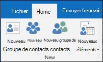Sélectionnez Nouveau Contact pour créer un nouveau contact.