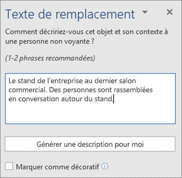 Boîte de dialogue Texte de remplacement dans Word pour Windows