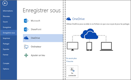 Enregistrer un fichier dans OneDrive