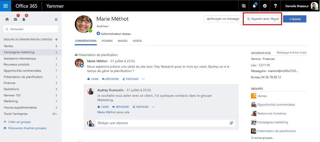 Appel de page de profil avec Skype